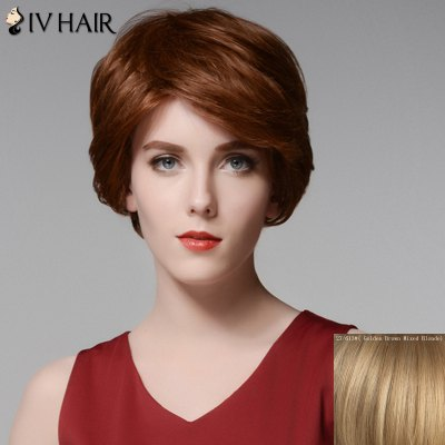 Siv Hair Elegant Short Capless Shaggy Wavy Side Bang 100 Percent Human Hair Wig