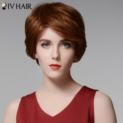 Siv Hair Elegant Short Capless Shaggy Wavy Side Bang  Human Hair Wig