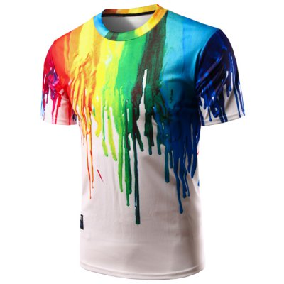 Colorful Painting Pullover T-Shirt For Men