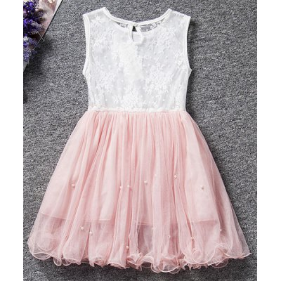 Cute Round Neck Sleeveless Lace Spliced Beaded Girl's Ball Gown Dress