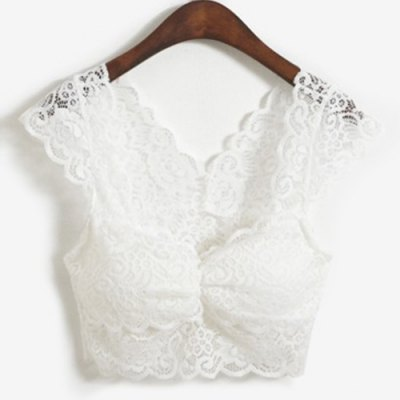 Sweetheart Neck Lace Crop Top For Women