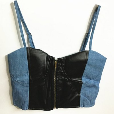 Strappy PU Leather Splicing Denim Crop Top For Women