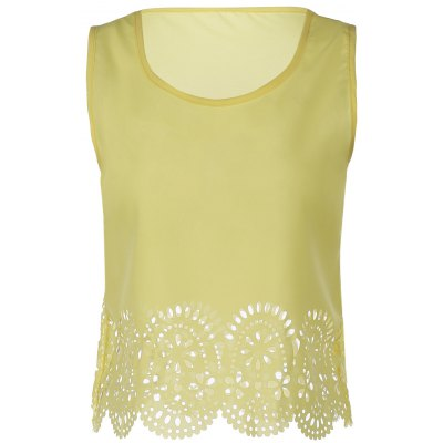Chic Scoop Neck Sleeveless Hollow Out Solid Color Women's Tank Top