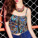 Etnnic Strappy Geometrical Crop Top For Women