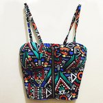 Etnnic Strappy Geometrical Crop Top For Women deal