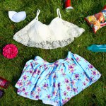 Chic Lace Spliced Bikini and Flower Shape Boxers Three-Piece Swimwear For Women deal