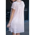 cheap Fashion Round Collar Short Sleeve Lace Spliced Dress For Women
