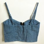 cheap Vintage Strappy PU Leather Splicing Denim Crop Top For Women