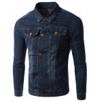 Pockets Design Turn-Down Collar Long Sleeve Denim Jacket For Men