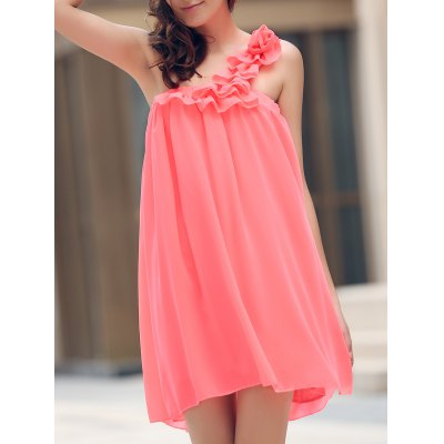 One Shoulder Stereo Flower Chiffon Casual Dress