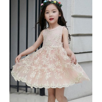Sweet Round Neck Sleeveess Lace Spliced Girl's A-Line Dress