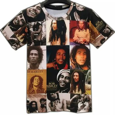 Round Collar Figures Printed T-Shirt For Men