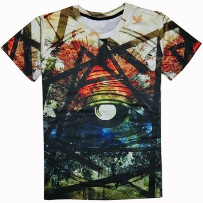 Round Collar Colorful Printed T-Shirt For Men