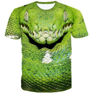 Pullover 3D Snakehead Printed T-Shirt For Men