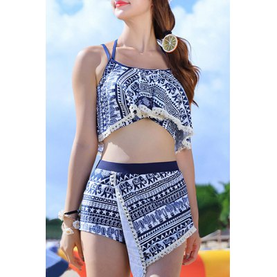 Stylish Halter Hollow Out Printed Three-Piece Women's Swimsuit