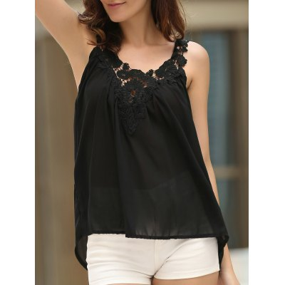 V-Neck See-Through Lace Splicing Tank Top