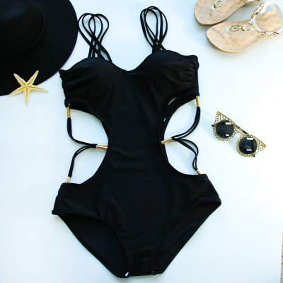 Strappy Hollow Out One Piece Black Swimwear