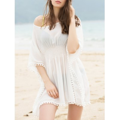 Fashionable Scoop Neck Dolman Sleeve Cover-Up Dress For Women
