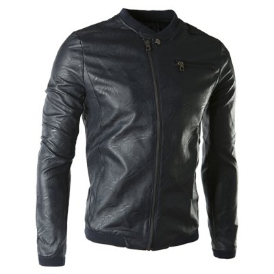 Stand Collar Rib Spliced Long Sleeve PU-Leather Jacket For Men