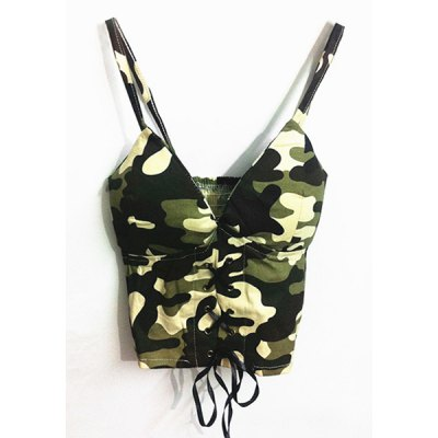 Strappy Camo Criss Cross Crop Top For Women