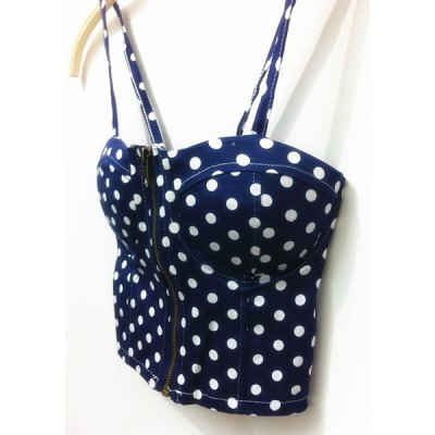 Vintage Strappy Polka Dot Crop Top For Women