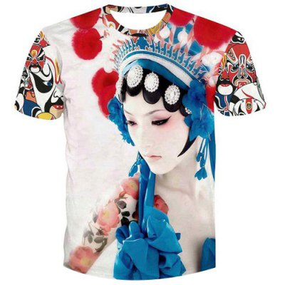 Pullover Peking Opera Actress Printed T-Shirt For Men