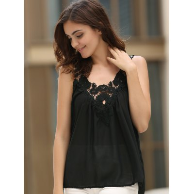 Women's Stylish V-Neck See-Through Lace Splicing Tank Top