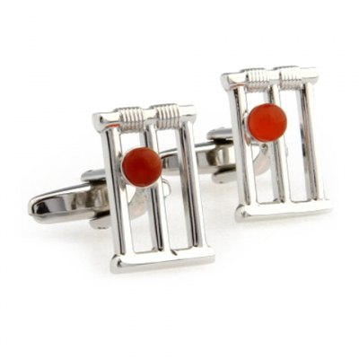 Pair of Stylish Red Faux Gem Embellished Hollow Out Alloy Cufflinks For Men
