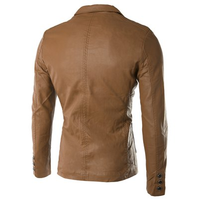 Turn-Down Collar Pockets Long Sleeve PU-Leather Jacket For Men