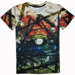 Buy Casual Round Collar Colorful Printed T-Shirt Men M COLORFUL