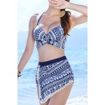 Stylish Halter Hollow Out Printed Three-Piece Women's Swimsuit deal
