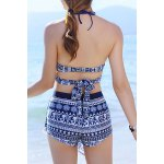 Stylish Halter Hollow Out Printed Three-Piece Women's Swimsuit for sale