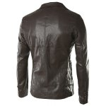 cheap Turn-Down Collar Pockets Long Sleeve PU-Leather Jacket For Men