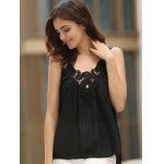 cheap Women's Stylish V-Neck See-Through Lace Splicing Tank Top