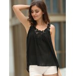 best Women's Stylish V-Neck See-Through Lace Splicing Tank Top
