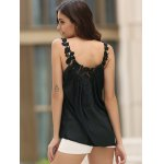 Women's Stylish V-Neck See-Through Lace Splicing Tank Top for sale