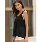 Women's Stylish V-Neck See-Through Lace Splicing Tank Top deal