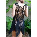 cheap Sweet Sleeveless Openwork Asymmetric Hem Women's Cover-Up