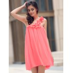 cheap One Shoulder Stereo Flower Chiffon Casual Dress