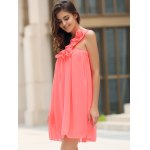 One Shoulder Stereo Flower Chiffon Casual Dress deal