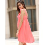 One Shoulder Stereo Flower Chiffon Casual Dress for sale
