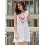 cheap Fashionable Jewel Neck Sleeveless Embroidered A-Line Dress For Women