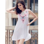 Fashionable Jewel Neck Sleeveless Embroidered A-Line Dress For Women for sale