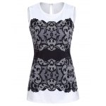best Chic Round Collar Sleeveless Lace Print Slimming Women's Tank Top