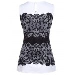 Chic Round Collar Sleeveless Lace Print Slimming Women's Tank Top photo