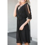 cheap Trendy V-Neck Half Sleeve Cut Out Waisted Dress For Women