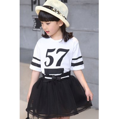 Short Sleeve Number Print T-Shirt + Mini Bubble Skirt Girl's Twinset