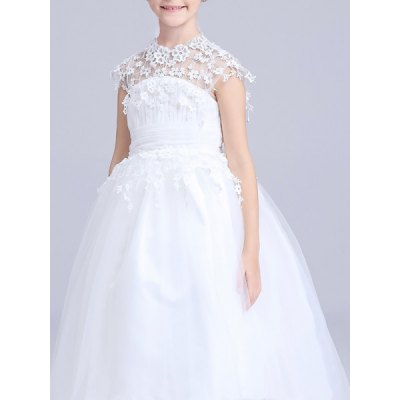 Sweet Sleeveless Lace Spliced White Girl's Ball Gown Dress