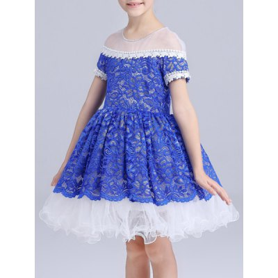 Sweet Short Sleeve Lace Spliced See-Through Girl's Ball Gown Dress Pueblo Продам Куплю