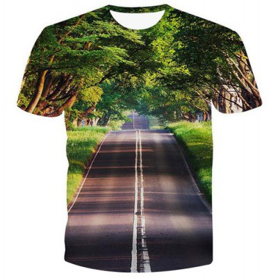 Pullover Road Printed T-Shirt For Men